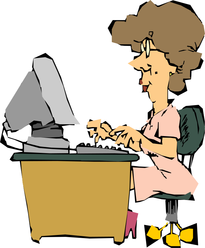 Clipart Of The Person Working On Computer Free Image Download