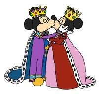 King Mickey Mouse and Queen Minnie kiss