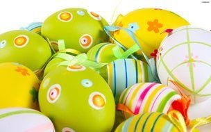 painted green Easter eggs