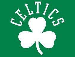 White and green logo of Boston Celtics clipart