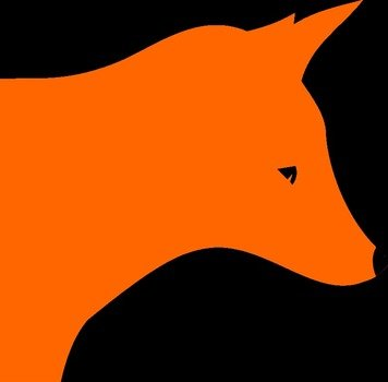 Orange fox head on the black background clipart