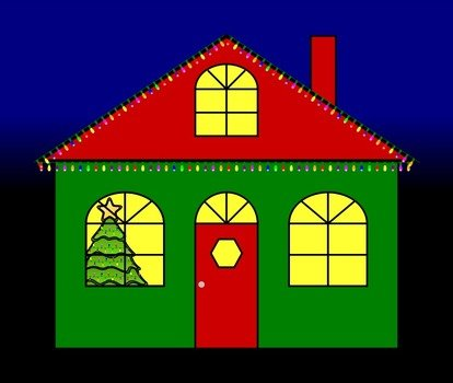 drawing of a christmas house in the dark