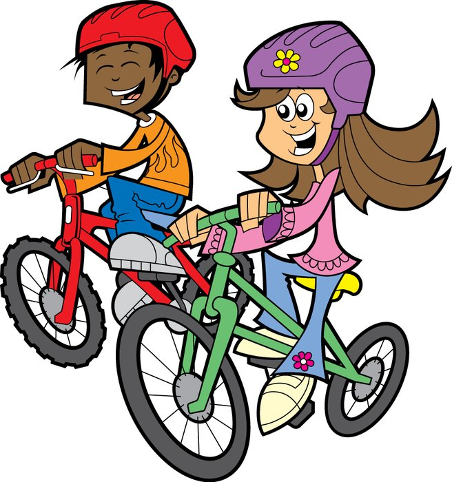 cartoon girl and boy ride bicycles