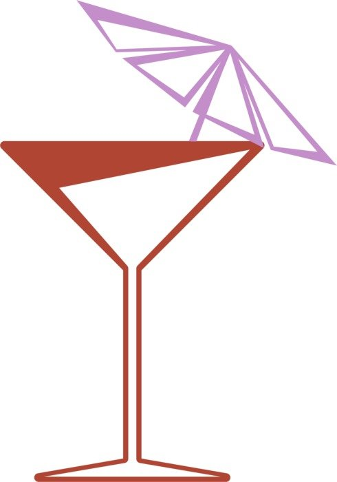 drawing of a glass with a cocktail