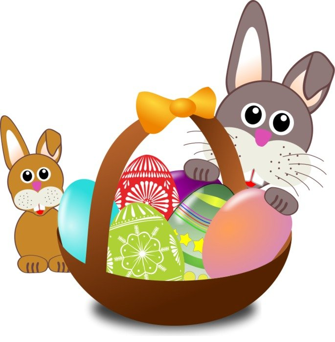 Funny Bunny with easter eggs in a basket as an illustration