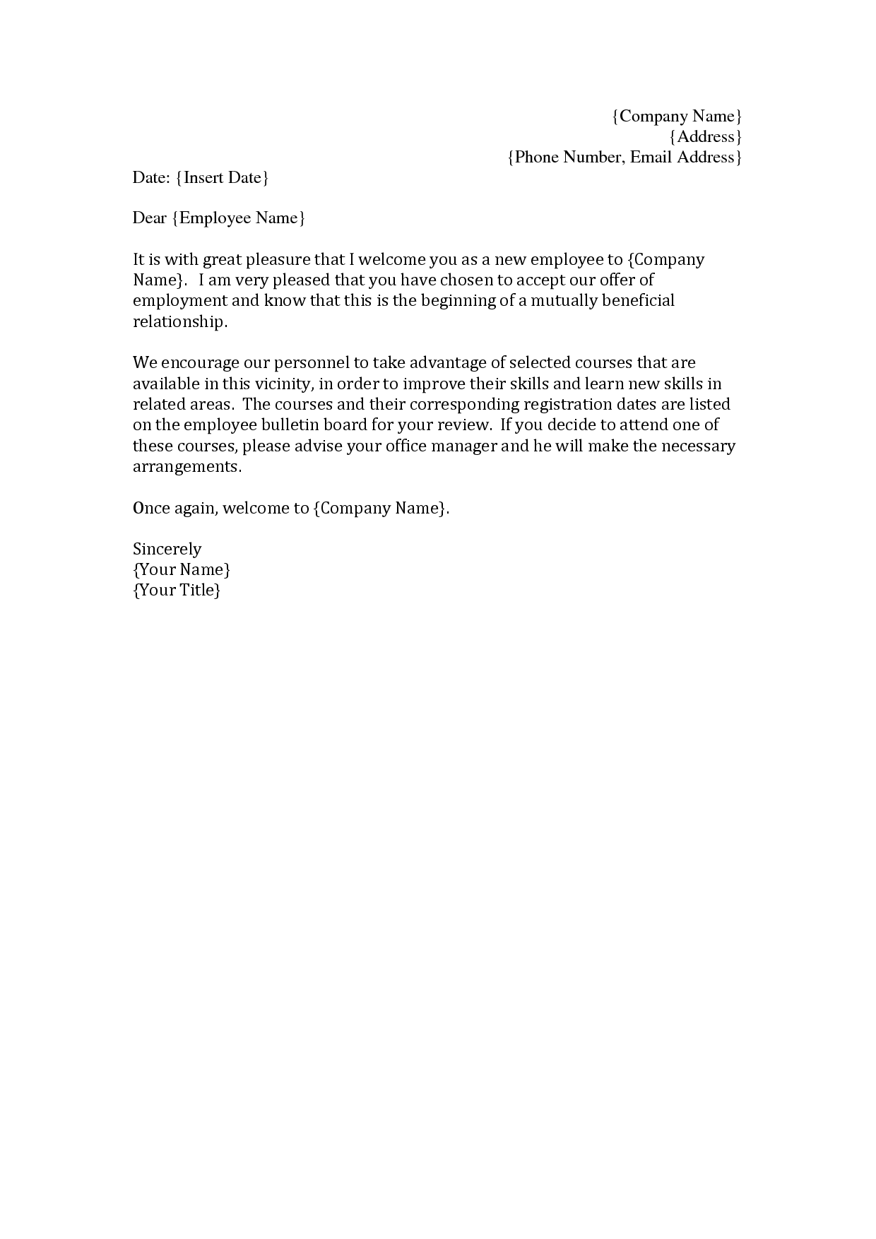 Employee Welcome Letter Template from pixy.org