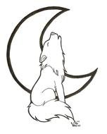 Black and white drawing of the wolf and moon clipart