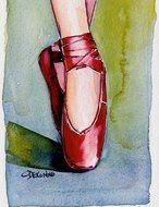 Ballet Pointe red Shoes drawing