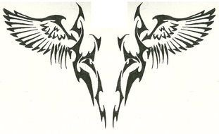Black and white drawing of the Tribal Wings clipart