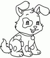 Black and white drawing of the cute and beautiful dog clipart
