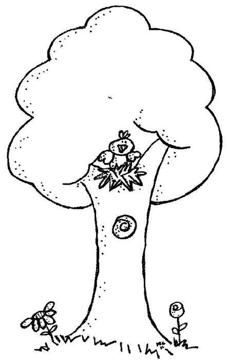 Black and white drawing of the tree with the bird clipart