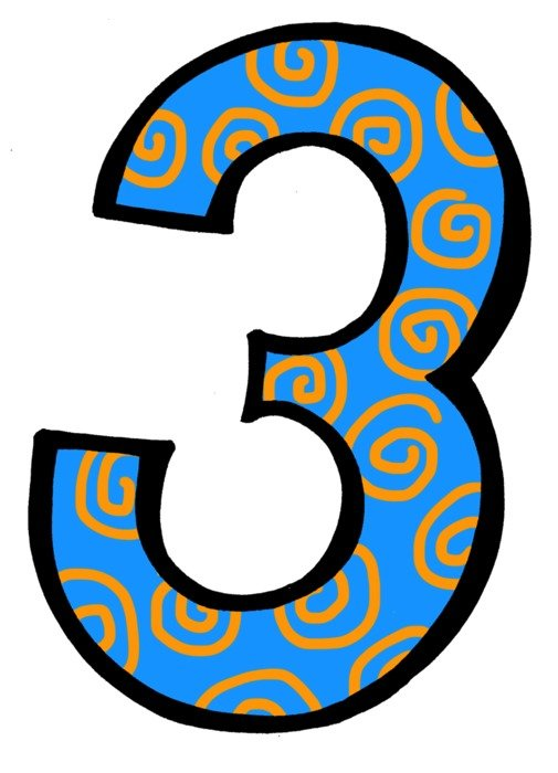Number three blue Clip Art drawing