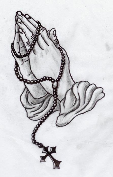 Praying Hands With Rosary Tattoo Designs drawing
