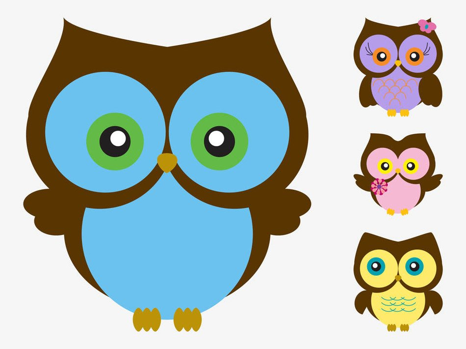 İllustration of colorful Cartoon Owls