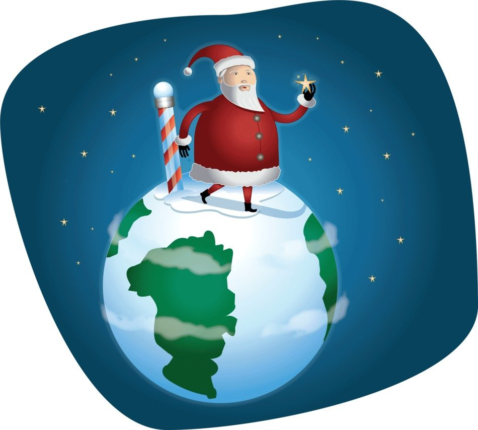 santa claus walks the planet