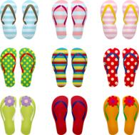 set of colorful flip-flops, drawing