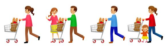 cartoon people on grocery shopping
