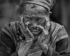 portrait of Elderly tribal asian woman