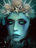 aqua woman, mermaid wearing crown, digital art
