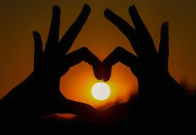 Heart Hand Romantic sun