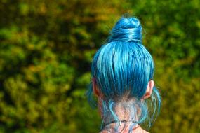 photo of a girl with blue hair