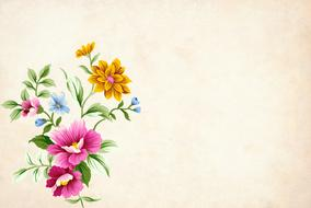 Colorful beautiful flowers on the vintage backgeound clipart