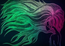 Colorful woman with the neon hair clipart
