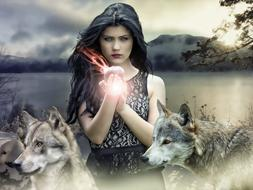 mystical collage, girl and wolves on the shore of a mountain lake