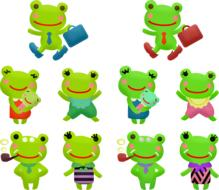 collage of cartoon green frogs