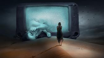 loneliness, Fantasy, Woman in front of tv in desert