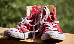 red and white Sports Shoes, keds outdoor