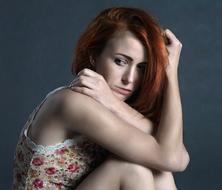 photo of upset redhead girl