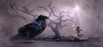 crow and mystical woman