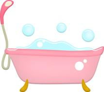 bathtub bubbles pink drawing