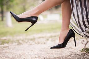 photo of a girl's legs in black leather high-heeled shoes