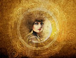 female face at grunge background, steampunk Fantasy