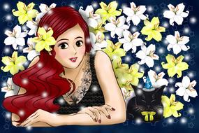 Colorful woman and colorful flowers clipart