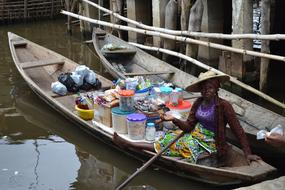 Woman Africa boat