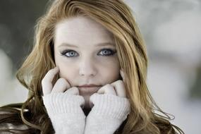 pretty young Girl on Cold weather, portrait