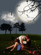 romantic image of a couple in love kissing on an agricultural field against the background of the night sky