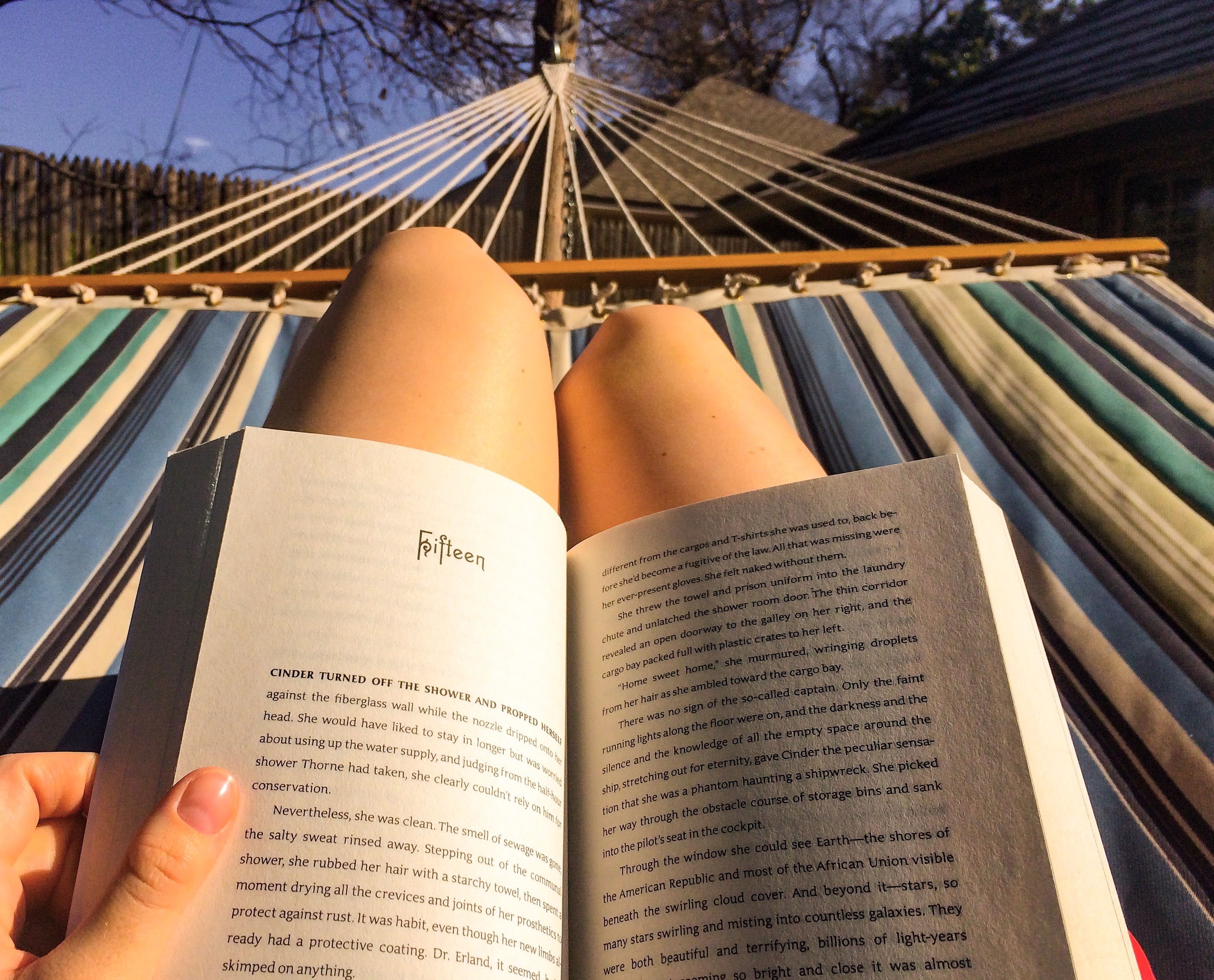 Girl Reading book on Hammock free image