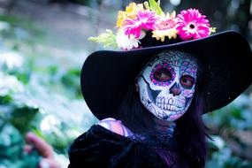 woman with make-up for the day of the dead