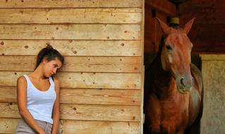 girl wood wall and horse