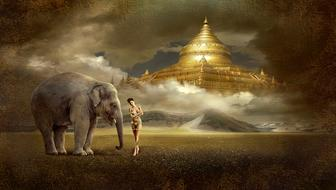 mystical image of a girl and an elephant against the background of a golden Buddhist temple