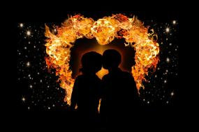 romantic couple and burning heart