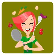 Cooking girl with the food clipart