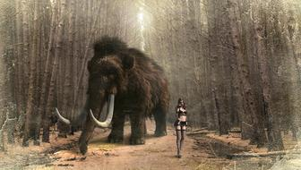 Fantasy, Mammoth and sexy Woman on path in forest