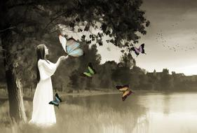 woman with butterflies at lake, collage