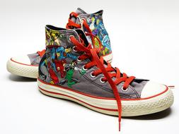 keds with super hero print and red lacing