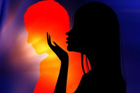 black female silhouette at hot colored male silhouette, love, drawing